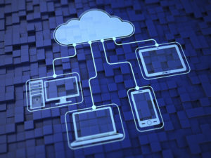 Cloud computing illustration with different device connections