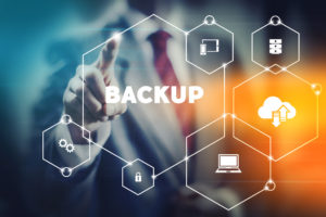 Data security backup concept business man selecting word from modern virtual interface.