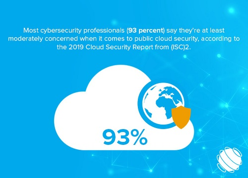 Illustration of statistic that most cybersecurity professionals are concerned about cloud security.