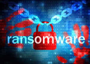 Ransomware illustration showing a lock and chain.