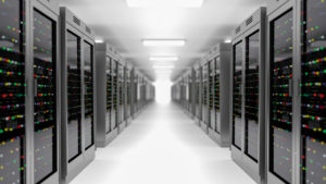 Data center photo showing server room.