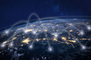 global network concept illustration showing connection of different sites on Earth.