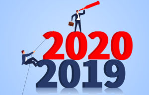 graphic showing two business men climbing up the years 2019 and 2020, with one using a telescope to look into the future.