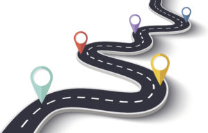 road map illustration showing GPS markers on a winding road.