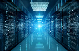 Connection network in dark servers data center room storage systems 3D rendering.