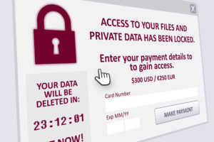 A ransomware lockscreen saying data has been encrypted and demanding a ransom payment.