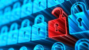 Data breach concept graphic showing rows of glowing blue padlocks against a dark blue background, with one red unlocked padlock to symbolize a breach.