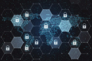 A pattern of hexagons full of glowing white dots against a blue background, with some white glowing padlocks in some of the hexagons, representing global cybersecurity.