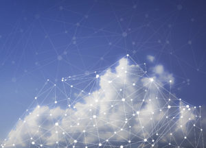 White cloud against blue sky with network of glowing dots connected by lines, representing the cloud.