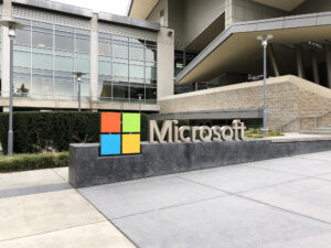 Microsoft sign at the entrance of a building at Redmond corporate headquarters.