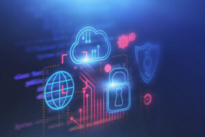 Glowing blue icons of a globe, cloud, padlock and shield float over a glowing red circuit diagram, representing cloud computing and cybersecurity.