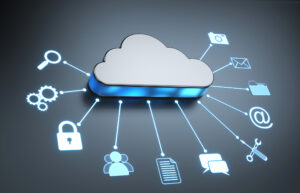 A grey cloud icon with line segments connecting it to icons of a padlock, person, text message bubble, wrench and other aspects of cloud computing.
