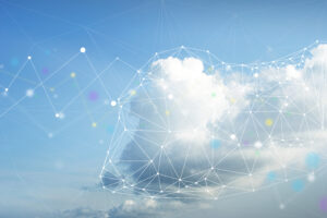 A cumulus cloud floats in a blue sky with a network of glowing dots connected with line segments superimposed over it, symbolizing cloud computing.