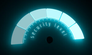 "A glowing blue measurement meter that says ""SECURITY LEVEL"" below it."