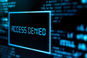 A blue and black screen showing a blue outline of a rectangle that says ACCESS DENIED in the middle.