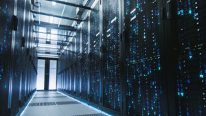 A data center hallway with servers.