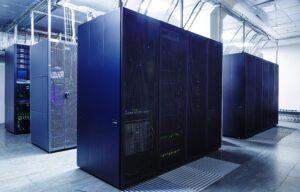Super computer in a server room.
