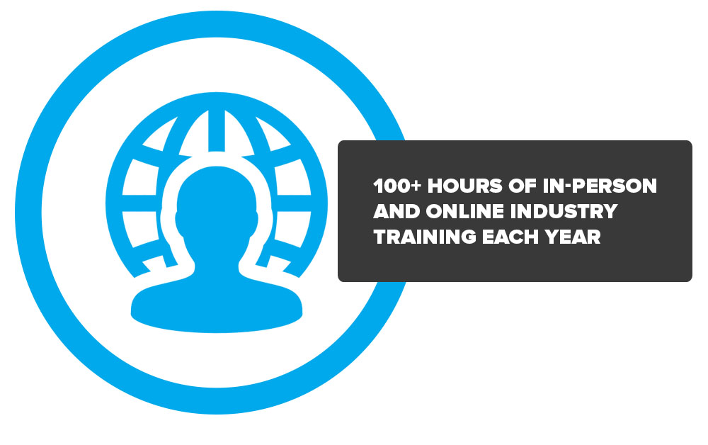 100+ hours of in-person and online industry training each year