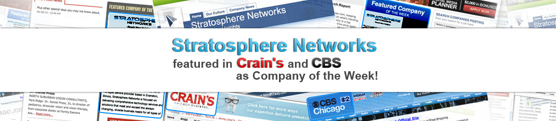 Stratosphere Networks featured in Crain's and CBS as Company of the Week!